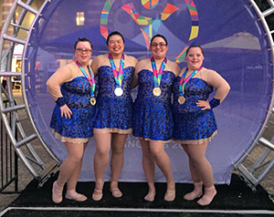 Danielle Blakeney, far right,  with her gold medal-winning group ball team. It was one of three gold  for the Erlanger gymnast. (Photo from SOKY)