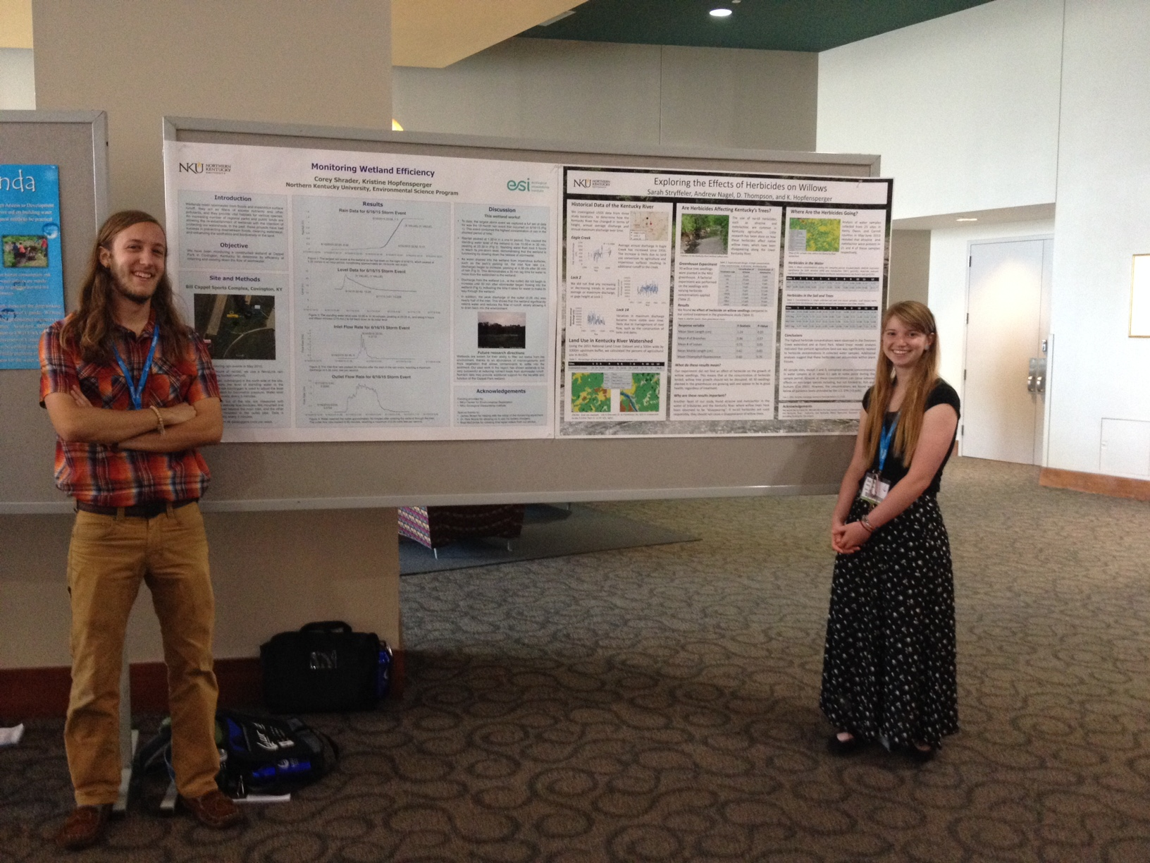 Corey Shrader, left, and Sarah Stryffeler alongside their winning research presentations.  (Photo provided by NKU)
