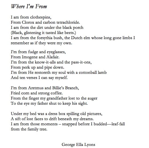 where i am from poem template - george ella lyon aims for a poem from every county with