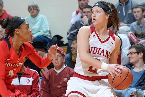Jess Walter, a 6-foot guard from Midland, Michigan, finished runner up in the 2014 Miss Basketball voting and spent her first two collegiate seasons playing for Indiana University  (IU Athletics Photo)