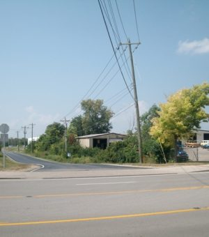 This access road into Bosch Automotive Steering from Turfway Road would potentially be extended to Bushelman Boulevard as part of the proposed development of airport land near Aero Parkway.