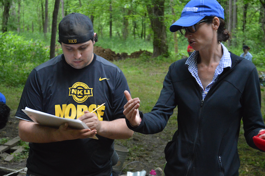 Prof. Sharyn Jones and student D. Lantz at the site.  (Photo by student Eric Goetz