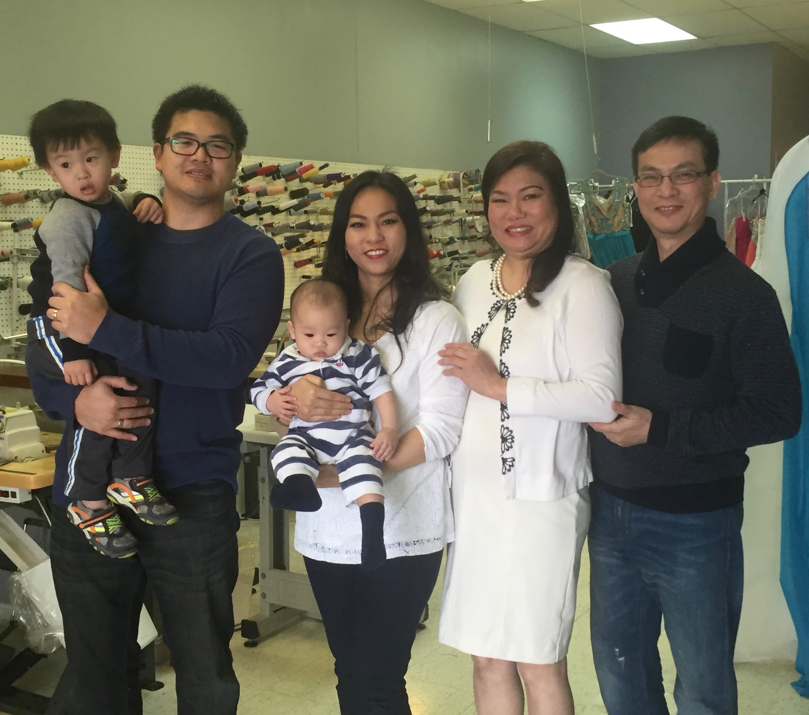 ,em>From left to right- Long Vu, Thanh Vu's husband, with son Jacob Vu; Thanh Vu, with son Nathan Vu; Theresa Vu; and Thinh Vu