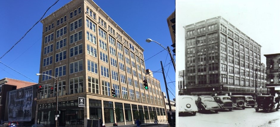 Photo of the Hotel Covington from today's grand opening (by Mark Hansel) alongside an historic photo of Coppins Department Store from the early 20th century (provided)