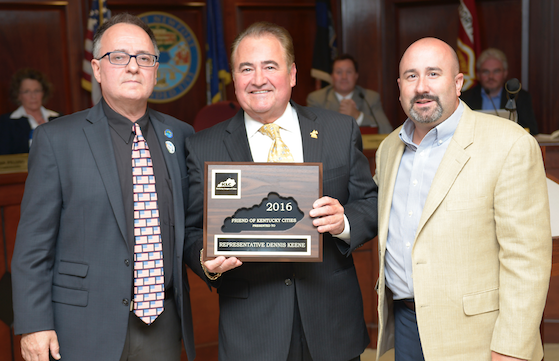 Newport Mayor Jerry Peluso and KLC Deputy Executive Director J.D. Chaney with Rep.  Dennis Keene