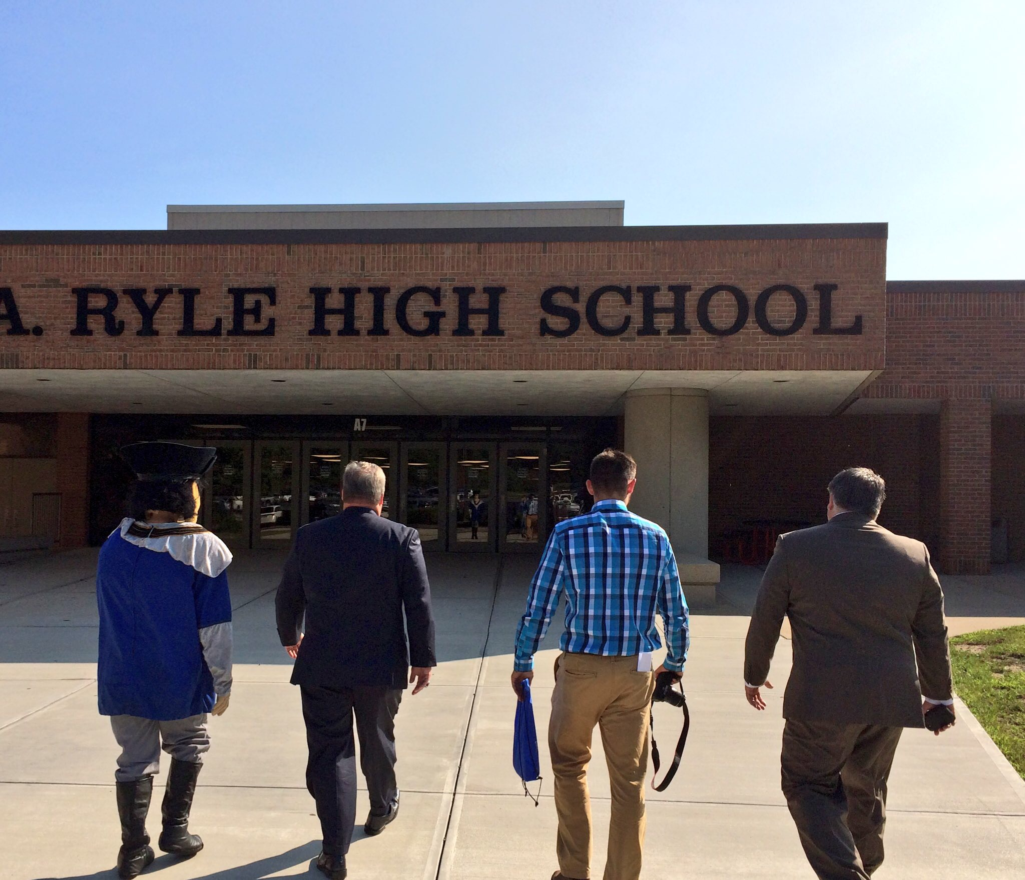 "Making a special deliver to Ryle High School -- TMC President David Armstrong,  Saints Mascot ""Tommy Mo' and their team go to Ryle High School with good news."