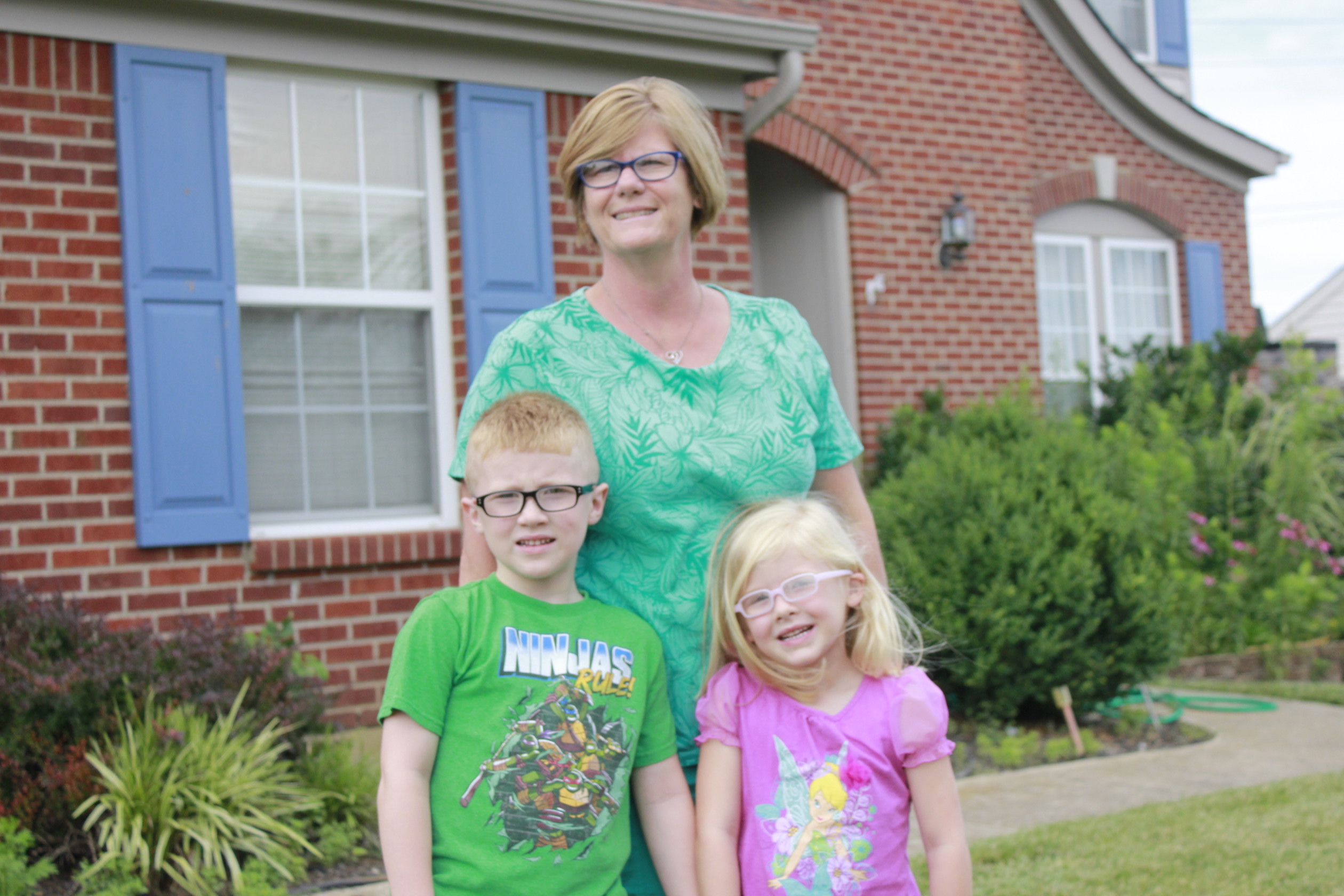 Cindy Harvey with her grandchildren, Adam and Aubrey.