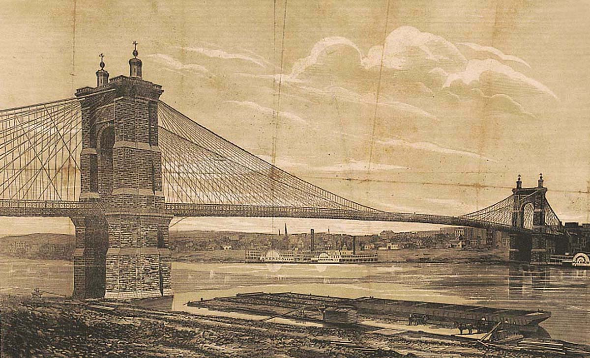 John A. Roebling's suspension bridge was finally completed and opened to vehicles on New Year's Day, 1867. This woodcut shows the view from Covington looking toward the banks of the Ohio. Library of Congress.