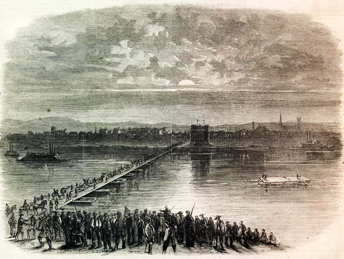 Cincinnati's pontoon bridge spanning the Ohio River during the Civil War. This woodcut from the September 27, 1862 issue of Harper's Weekly shows the uncompleted stone tower on the Cincinnati side. Library of Congress.