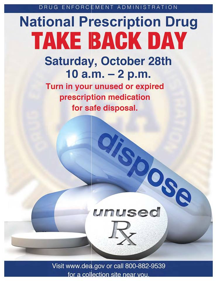 Safely dispose of old pills on National Prescription Drug Take Back Day