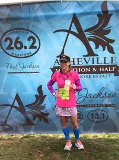 Erin Meyer Webb of Edgewood after finishing the Asheville Marathon. (Photo provided by Webb)