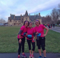 Suzanne Livezey Peters of Union, Kris Payler Staverman of Erlanger, and Cheri Cornelius of Crestview Hills in front of the Biltmore House during the Asheville Half Marathon. (Photo from the Biltmore House)