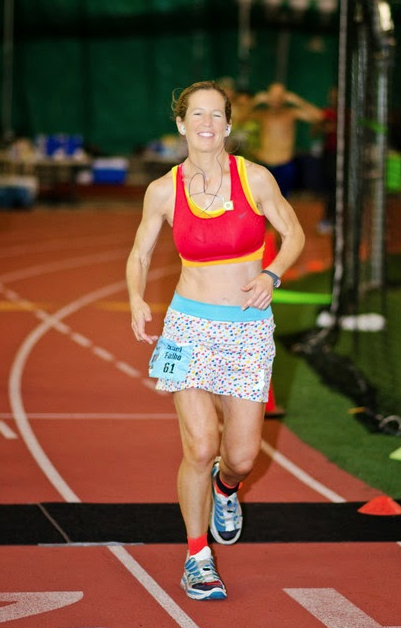 Traci Falbo as she breaks the American indoor record for a 48-hour race during the Six Days in the Dome in Anchorage, Alaska, last year. (Photo provided)