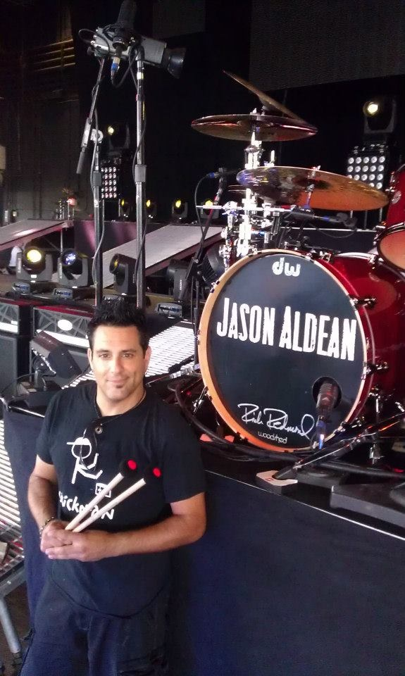 Jason Aldean's drummer Rich Redmond with a pair of Argullin's mallets