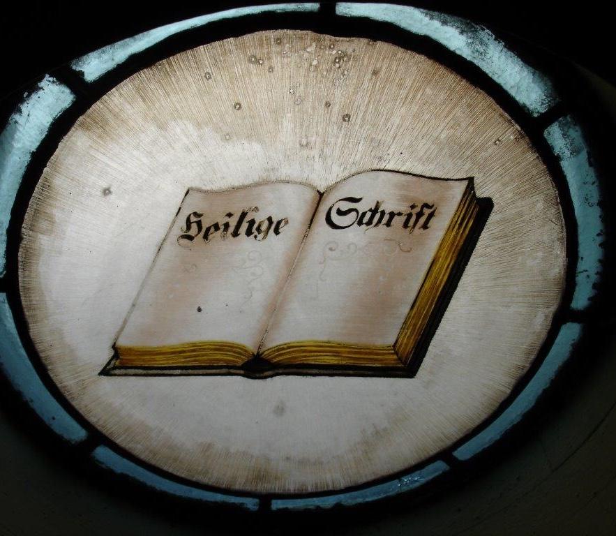 Window in German language at St. Boniface church