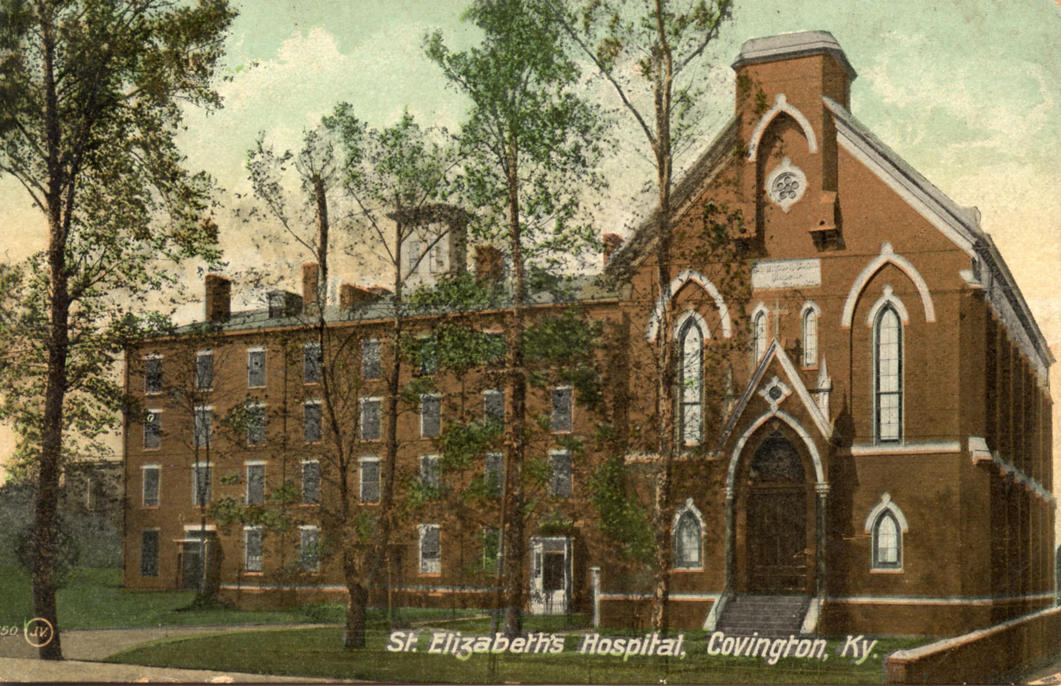 Color postcard of St. Elizabeth Hospital, circa 1909