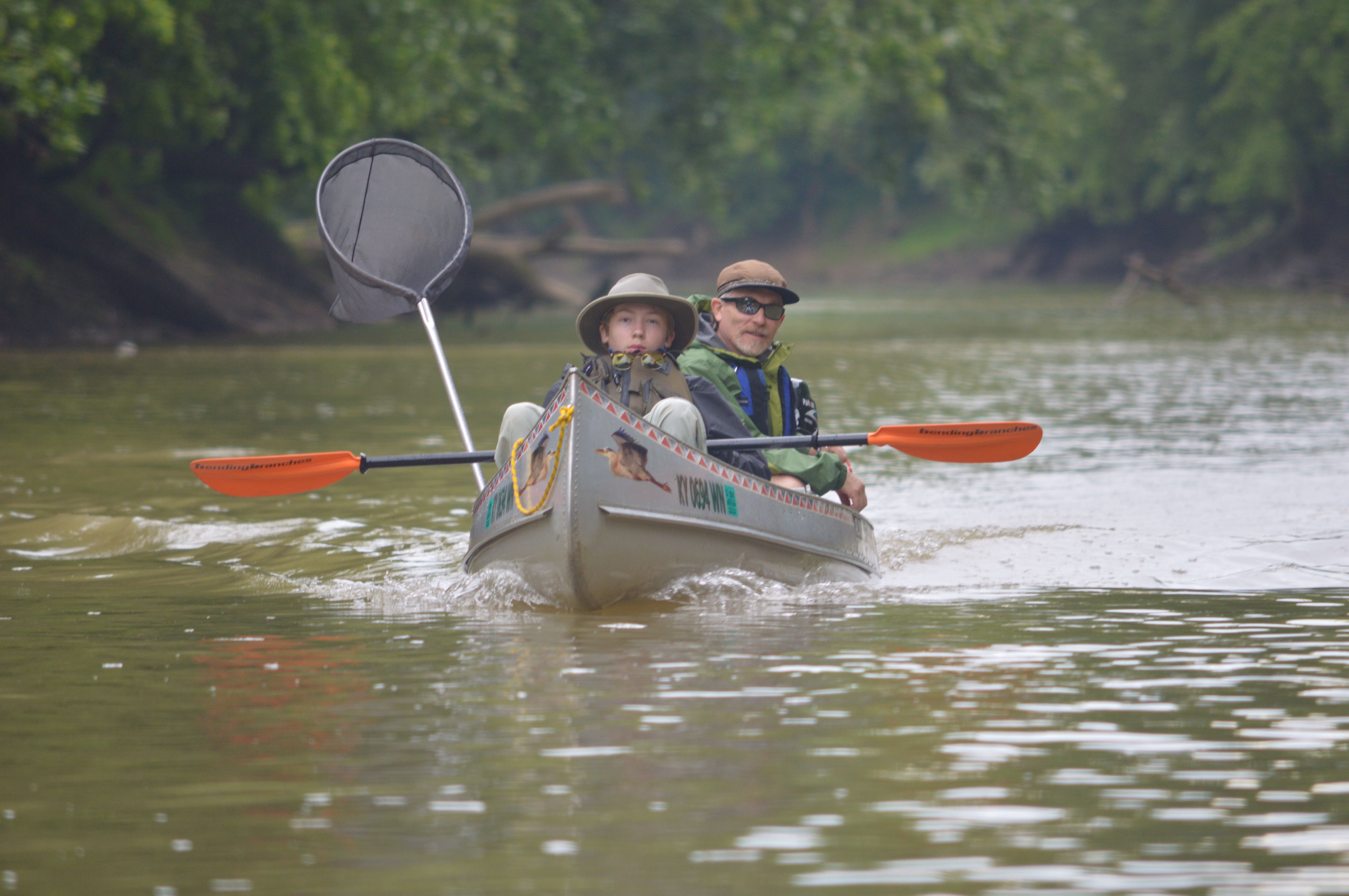 Bruce Hutcheson, and his 15-year-old son Kevin on the Licking River (Photo by Andy Mead)