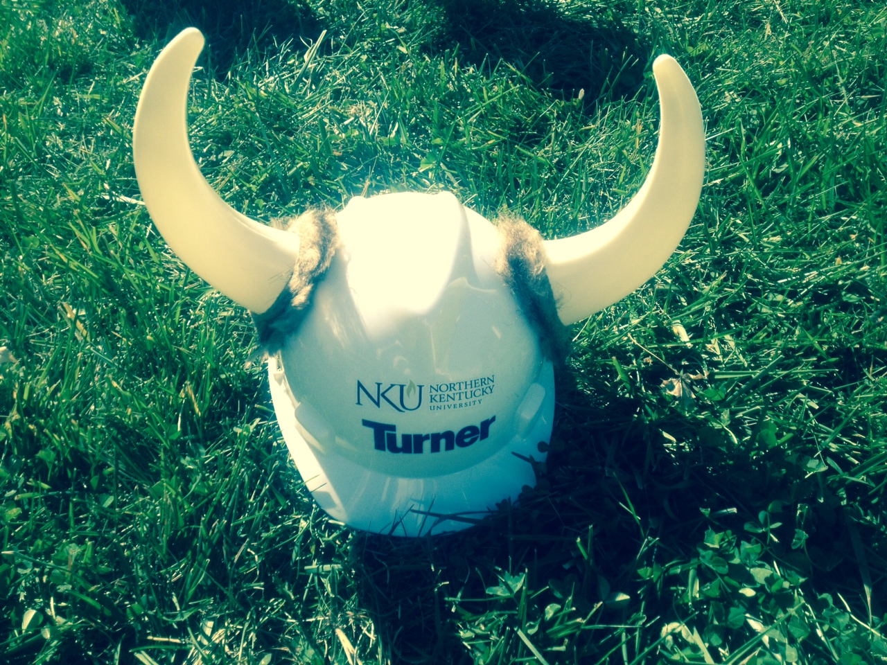 The unique NKU Norse hardhats provided by Turner Construction for Wednesday's groundbreaking