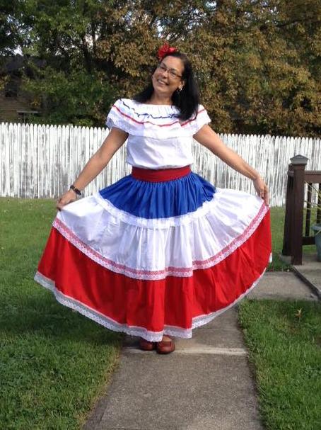 Nurys Diaz in traditional Dominican dress