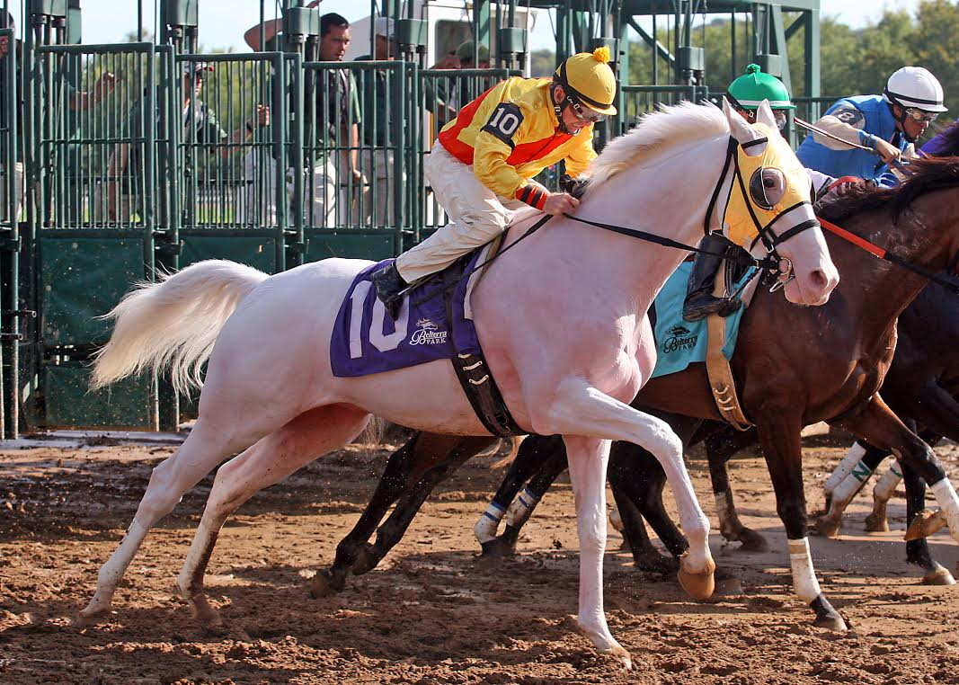 Perry Ouzts breaks Takemetohollywood from the gate (Photo from Belterra Park / John C. Engelhardt)
