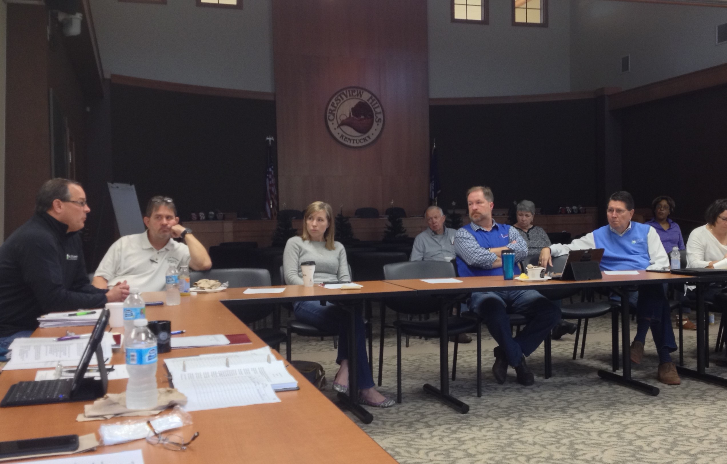 St. Elizabeth Healthcare CEO Garren Colvin lays out his case in support of a needle exchange program at Saturday's Kenton County Mayors' Meeting (photo by Mark Hansel).