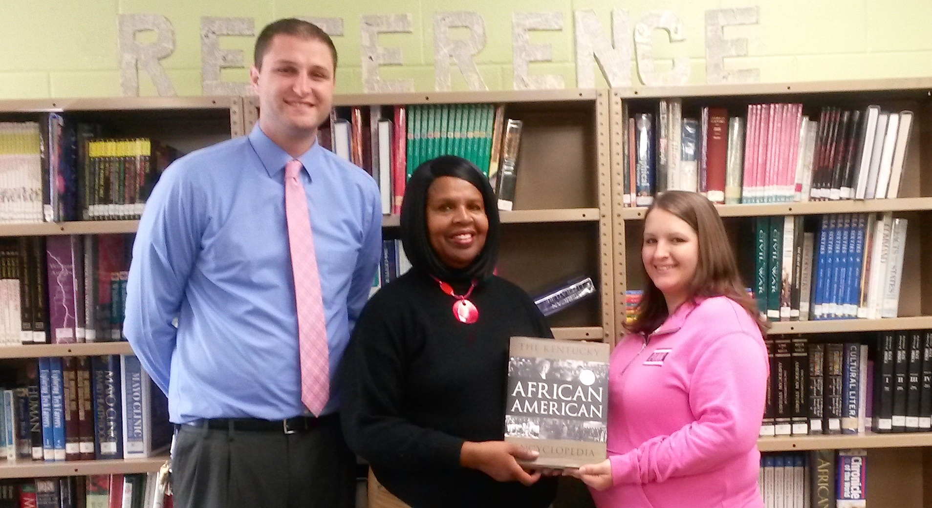 Green County High School received the Kentucky African American Encyclopedia from Carolyn Compton, GCU Board Member. From left are: Clint Graham, Assistant Principal of Green county High School; Compton; and Carla Hoosier, GHS Librarian. (photo from GCHS)