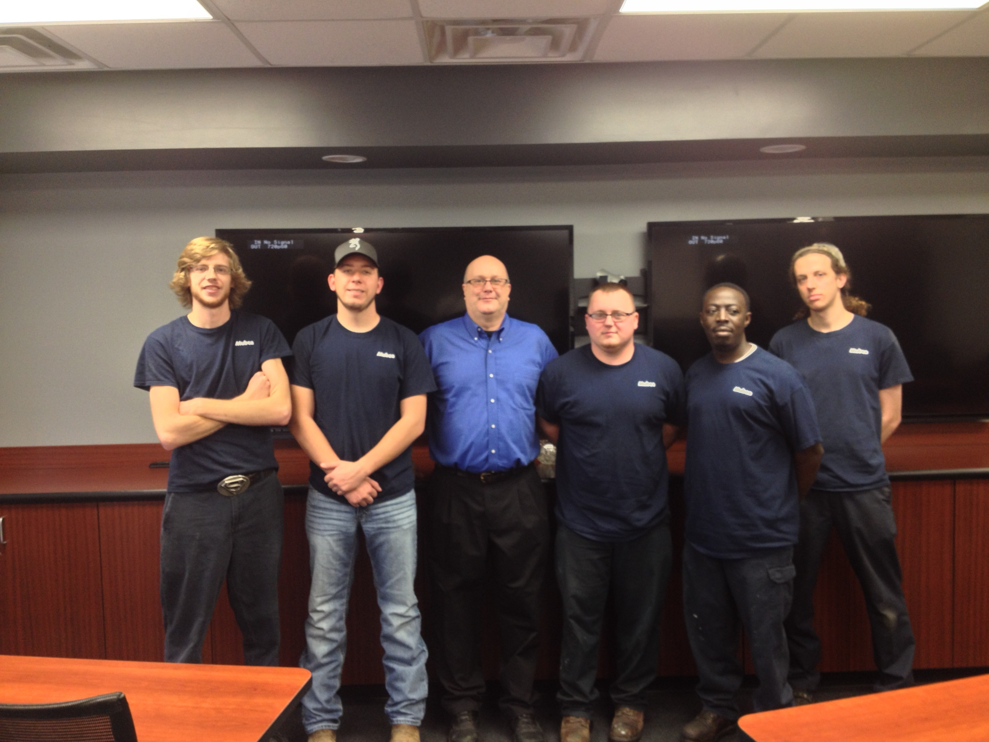 Mubea North AMerica apprenticeship/training manager Drew Farris (light blue shirt) with apprentices (left to right) Jesse Phillips, Lance Purcell, Nick Eubanks, Colin Chazuka and Matt Ryan