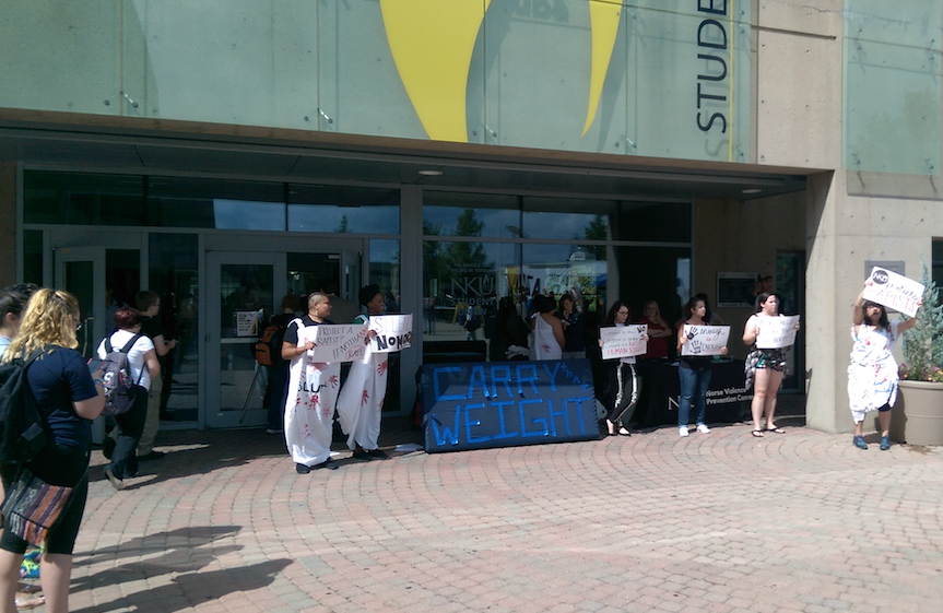 Last September's peaceful protest on campus.