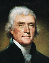 Thomas Jefferson, 1800  portrait by Rembrandt Peale.  Jefferson had an immense interest in Big Bone