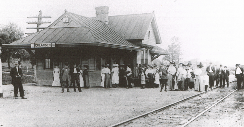 The Erlanger Depot, circa 1910. Source: Wayne Onkst, ed., From Buffalo Trails to the Twenty-First Century: A Centennial History of Erlanger, Kentucky.