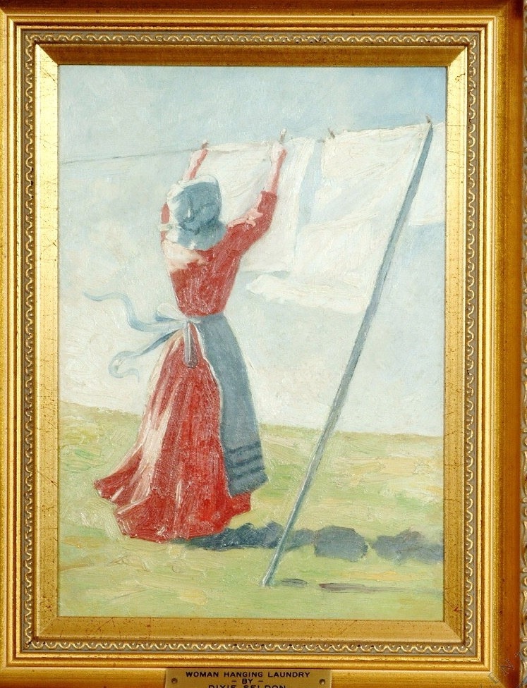Woman Hanging Laundry by Dixie Seldes (Kenton County Library photo)