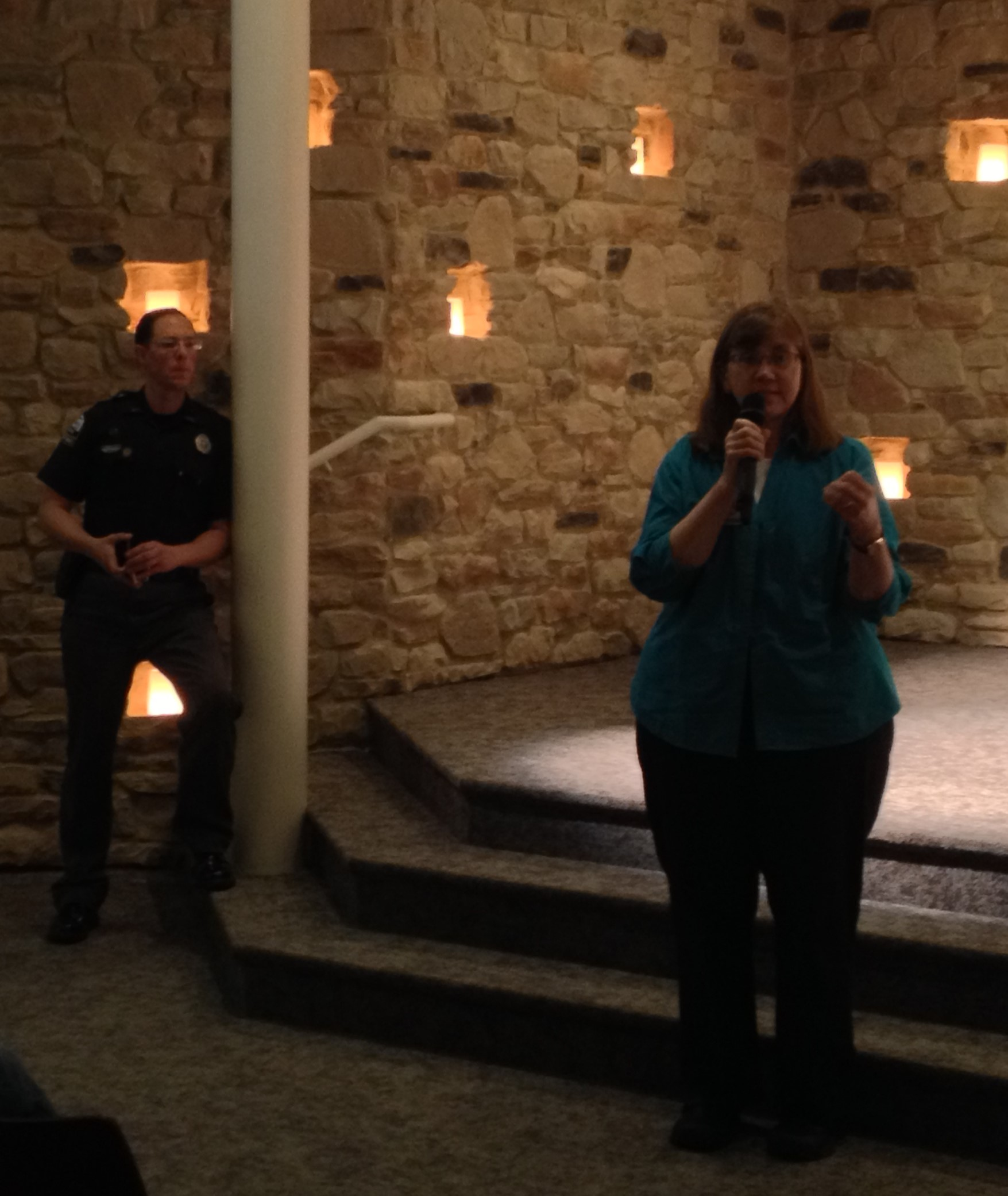 Kay Kramer, right, a registered nurse with St. Elizabeth and Florence D.A.R.E. officer Adam Argullin were among the speakers at Monday's Heroin Town Hall.