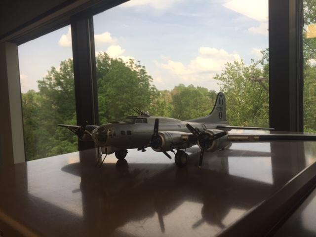 A model airplane graces a cabinet in veteran John Klette, Jr.'s law office in Ft. Mitchell