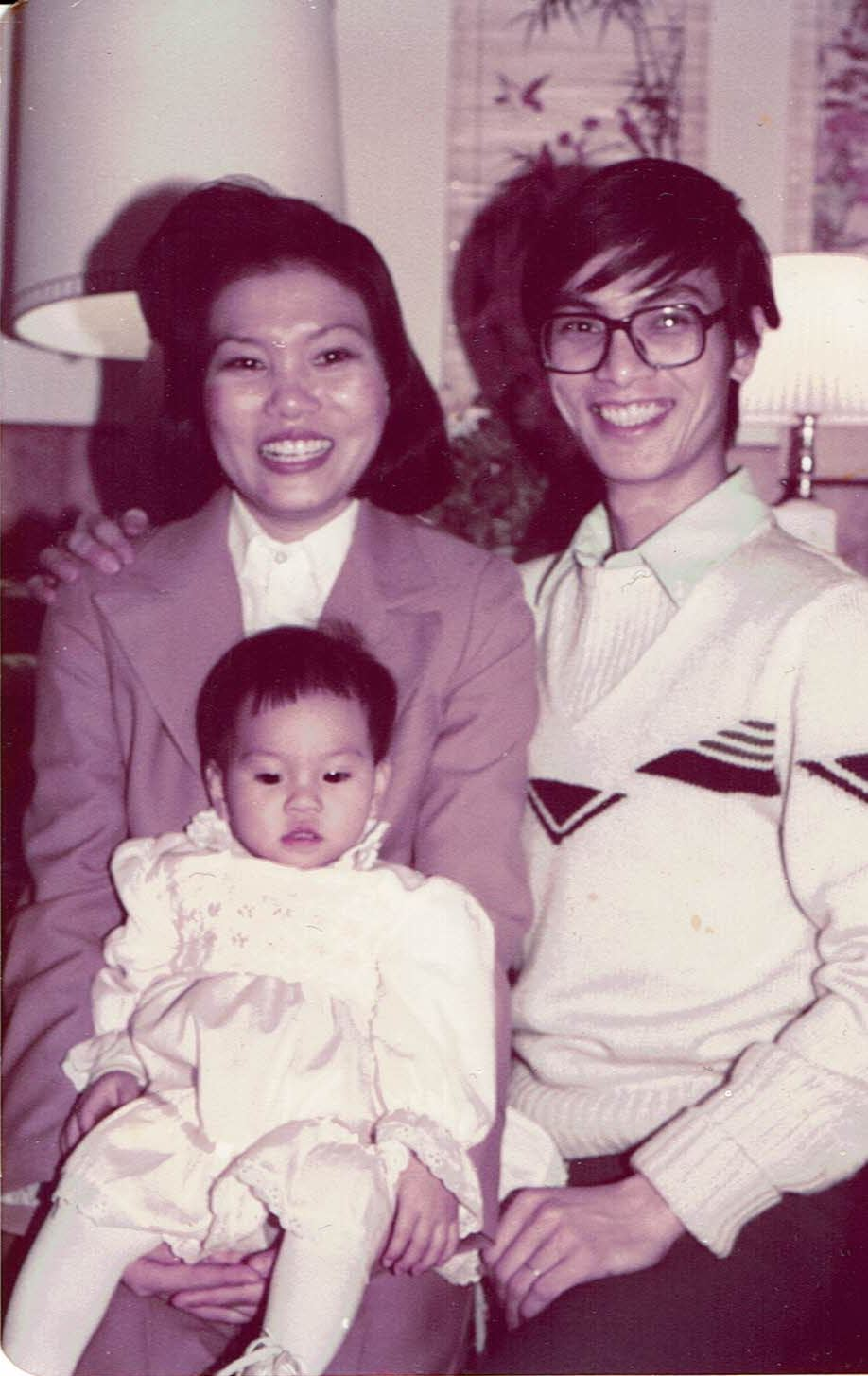 Theresa, husband Thinh, and daughter Thanh in 1985 after fleeing Vietnam and coming to Covington