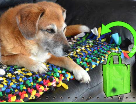 Making the most of repurposing -- pet beds from reusable bag materials.