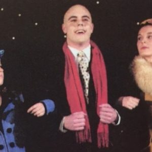"Robert Hardin as Daddy Warbucks in the Beechwood High School production of ""Annie."" Also featured in the photo are Rebecca Matthews and Julie Matthews Ferrell"