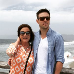 Hardin at Venice Beach with his favorite first director, his mother Rosemarie Deye