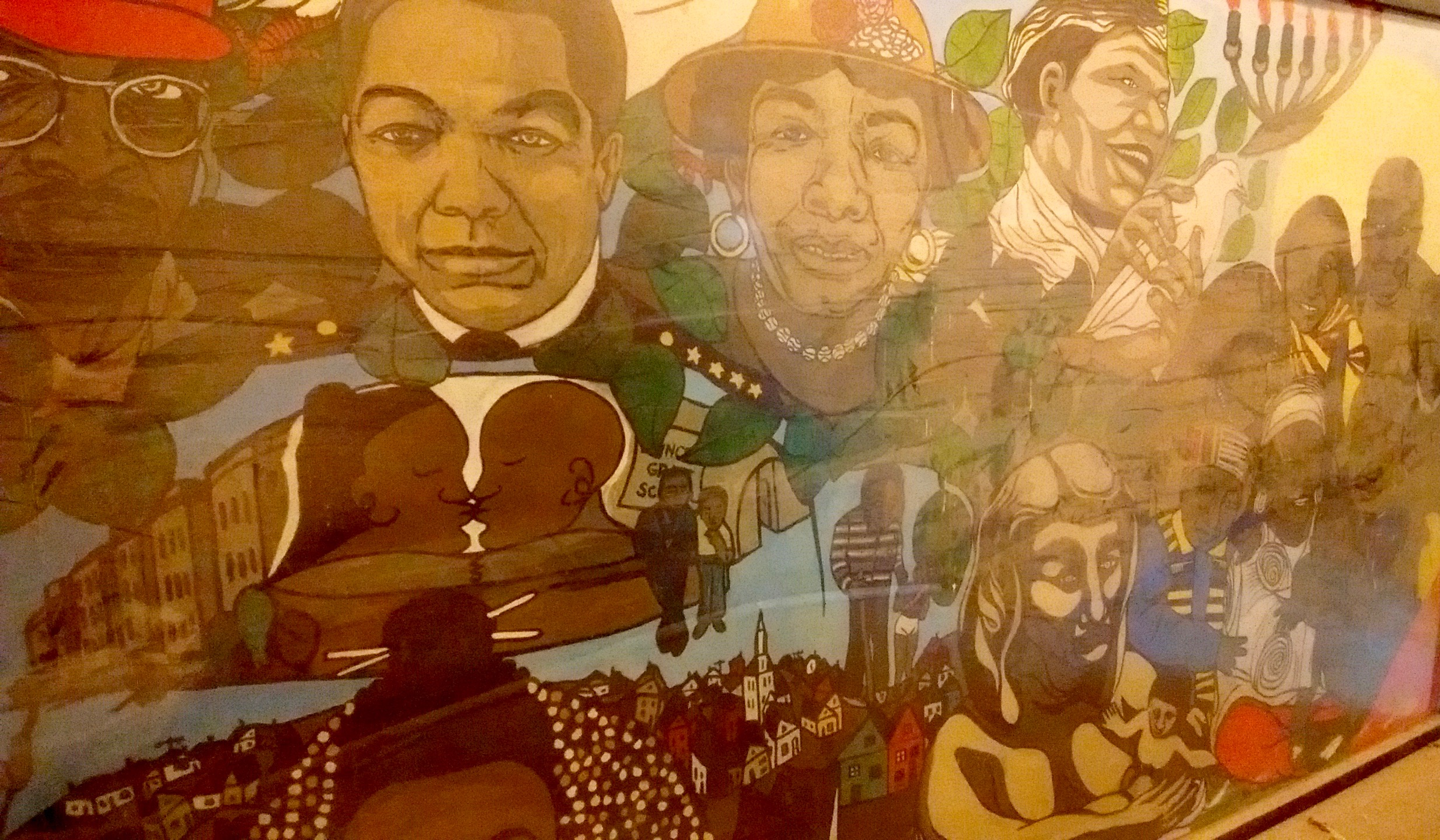 Refurbished mural from the gymnasium.