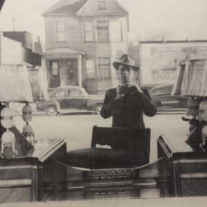 Grandfather, Casimer L. Cislo McMillen, capturing a selfie on Detroit's history Woodward Ave. (Courtesy Everett McMillen Cislo)