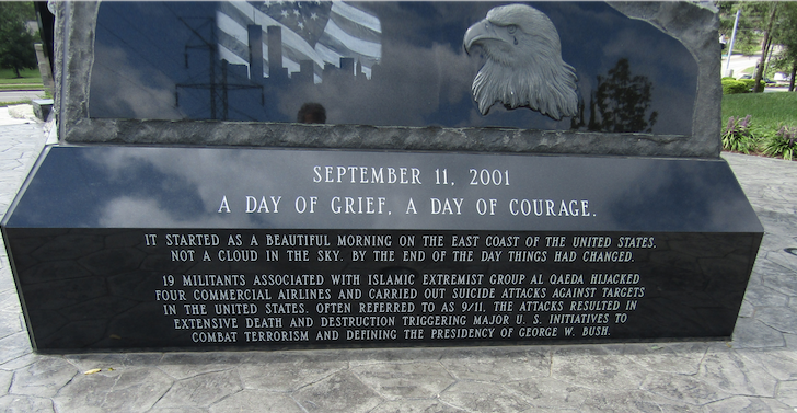 """Close-up of the words, """"It started as a beautiful day …,"""" Northern Kentucky 9/11 Memorial, Crescent Springs Community Park."""