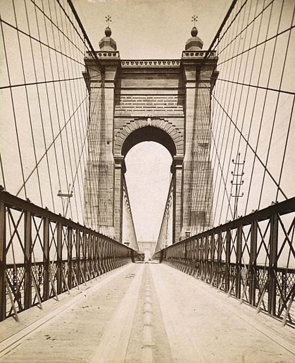The finished bridge as the first carriages to cross would have seen it on New Year's Day, 1867. Library of Congress.