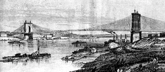 The Covington and Cincinnati Suspension Bridge. Source: Frank Leslie's Illustrated Newspaper, August 17, 1867.