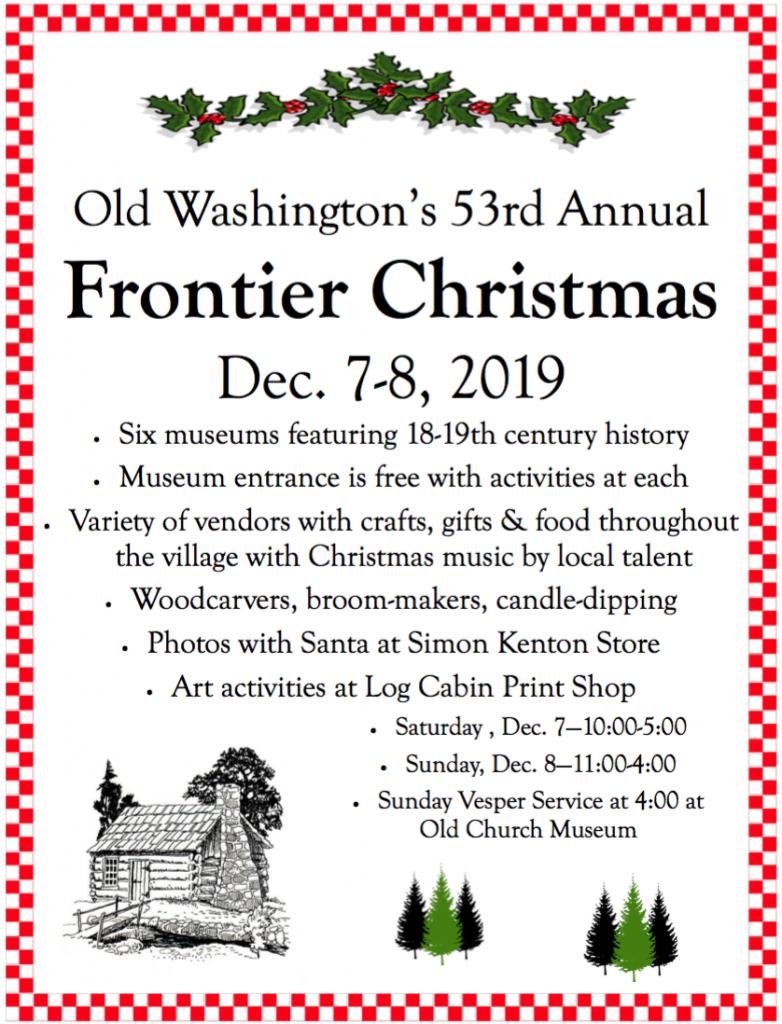 Frontier Christmas 2020, Washington Ky Mark your calendar for holiday fun: 54th annual Old Washington's